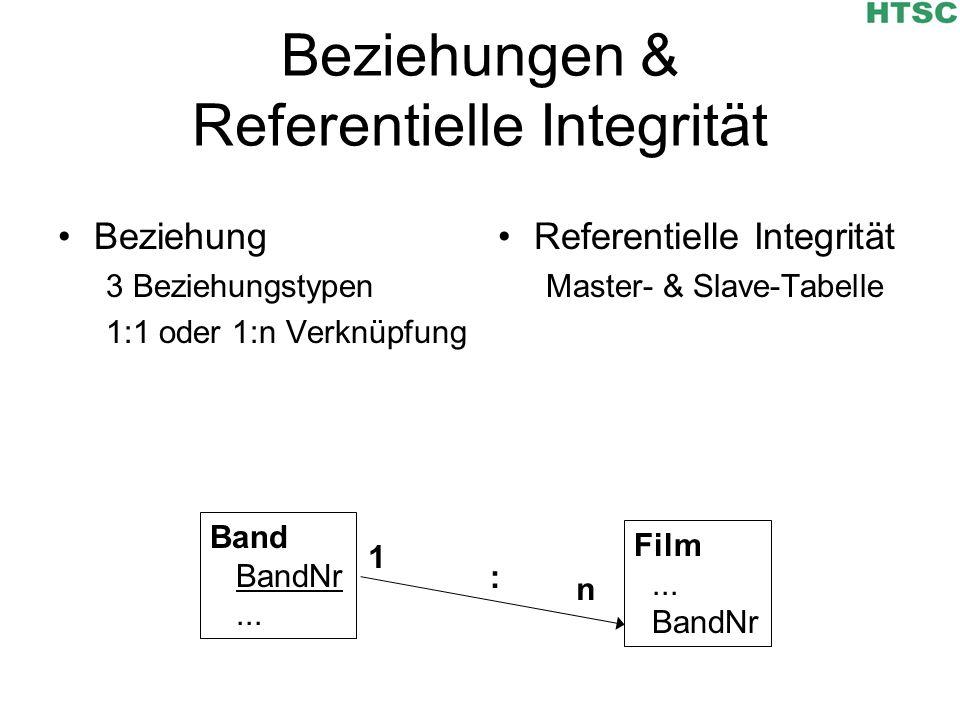 Beziehungen & Referentielle Integrität Beziehung 3 Beziehungstypen 1:1 oder 1:n Verknüpfung Referentielle Integrität Master- & Slave-Tabelle Film... B