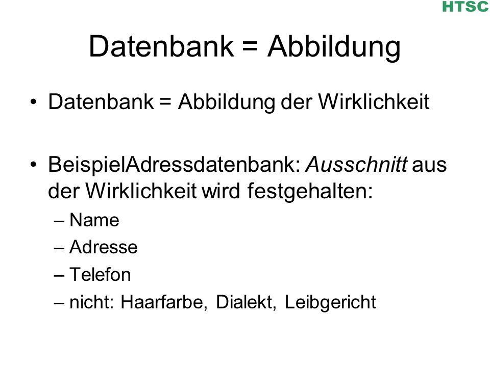 Datenbank = Abbildung Datenbank = Abbildung der Wirklichkeit BeispielAdressdatenbank: Ausschnitt aus der Wirklichkeit wird festgehalten: –Name –Adress
