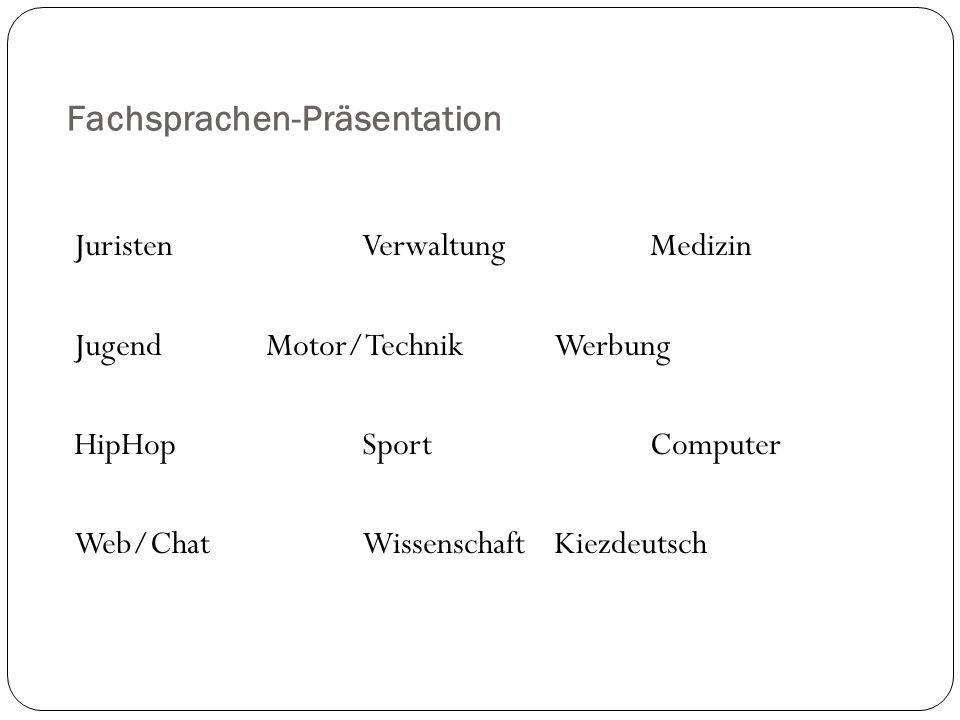 Fachsprachen-Präsentation JuristenVerwaltungMedizin JugendMotor/TechnikWerbung HipHopSportComputer Web/ChatWissenschaftKiezdeutsch