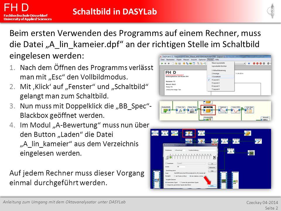 FH D Fachhochschule Düsseldorf University of Applied Sciences Czeckay 04-2014 Seite 2 Anleitung zum Umgang mit dem Oktavanalysator unter DASYLab Beim