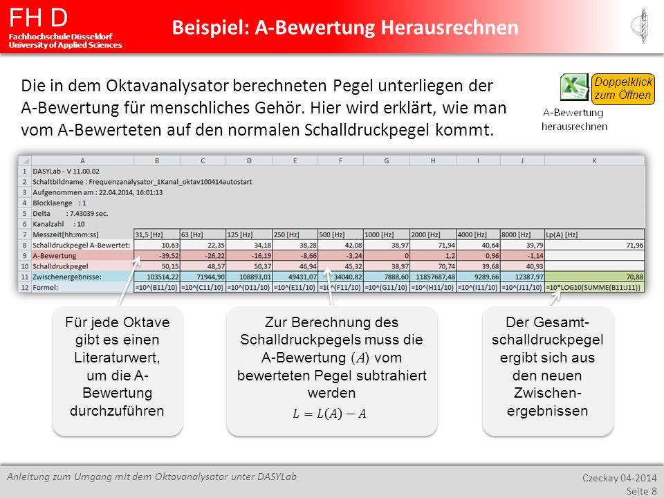 FH D Fachhochschule Düsseldorf University of Applied Sciences Czeckay 04-2014 Seite 8 Anleitung zum Umgang mit dem Oktavanalysator unter DASYLab Beisp