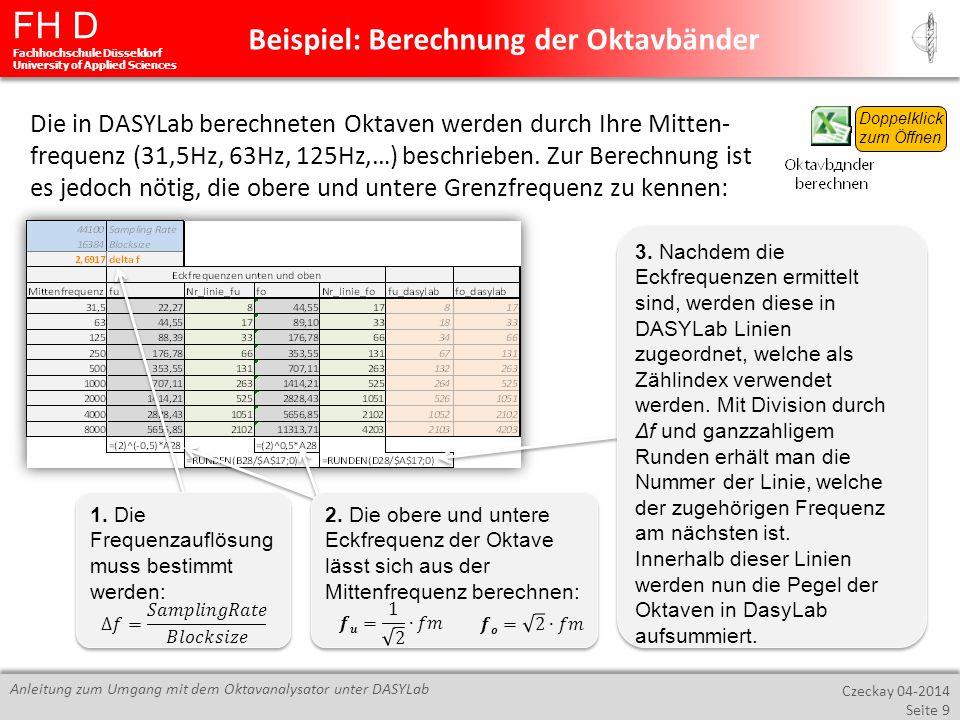 FH D Fachhochschule Düsseldorf University of Applied Sciences Czeckay 04-2014 Seite 9 Anleitung zum Umgang mit dem Oktavanalysator unter DASYLab Beisp