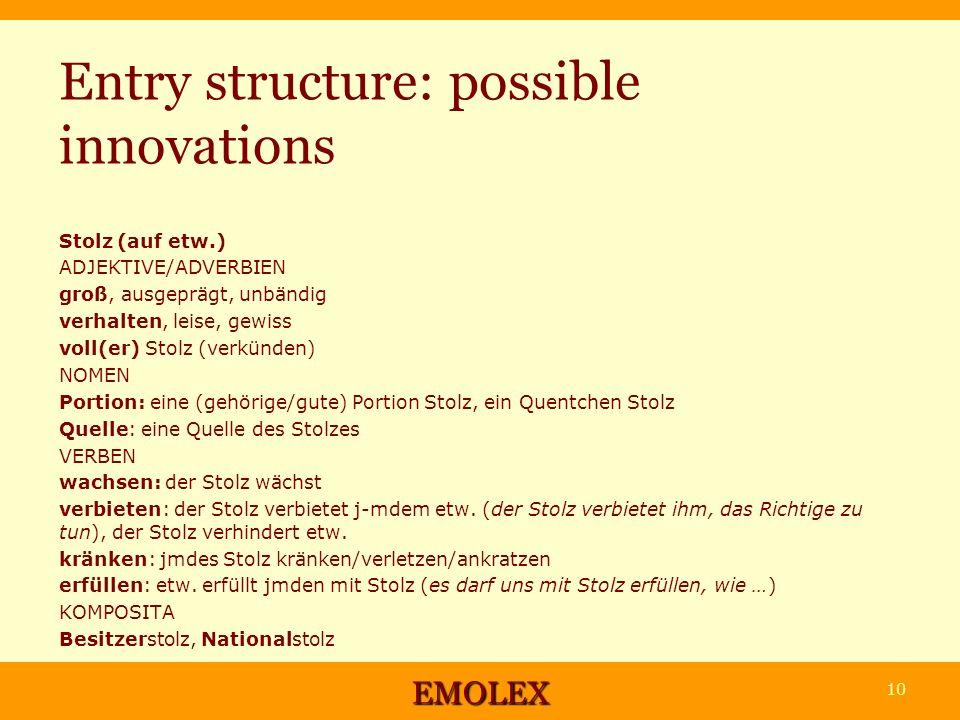 Entry structure: possible innovations Stolz (auf etw.) ADJEKTIVE/ADVERBIEN groß, ausgeprägt, unbändig verhalten, leise, gewiss voll(er) Stolz (verkünden) NOMEN Portion: eine (gehörige/gute) Portion Stolz, ein Quentchen Stolz Quelle: eine Quelle des Stolzes VERBEN wachsen: der Stolz wächst verbieten: der Stolz verbietet j-mdem etw.