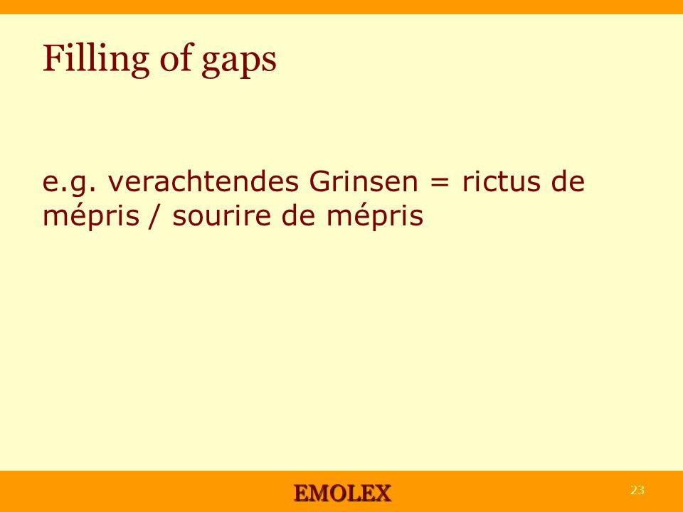 Filling of gaps e.g. verachtendes Grinsen = rictus de mépris / sourire de mépris EMOLEX 23
