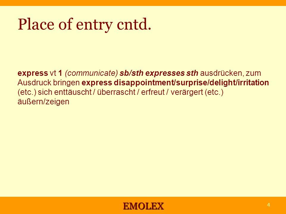 Structure des articles 1.Lemma (partie du discours, niveau du CER, synonymes) + un ou plusieurs exemples 2.Valence interne et externe 3.Collocations (classées par dimensions sémantiques) 4.Phraséologie - Les débutants peuvent se limiter à 1 et 2 EMOLEX 25