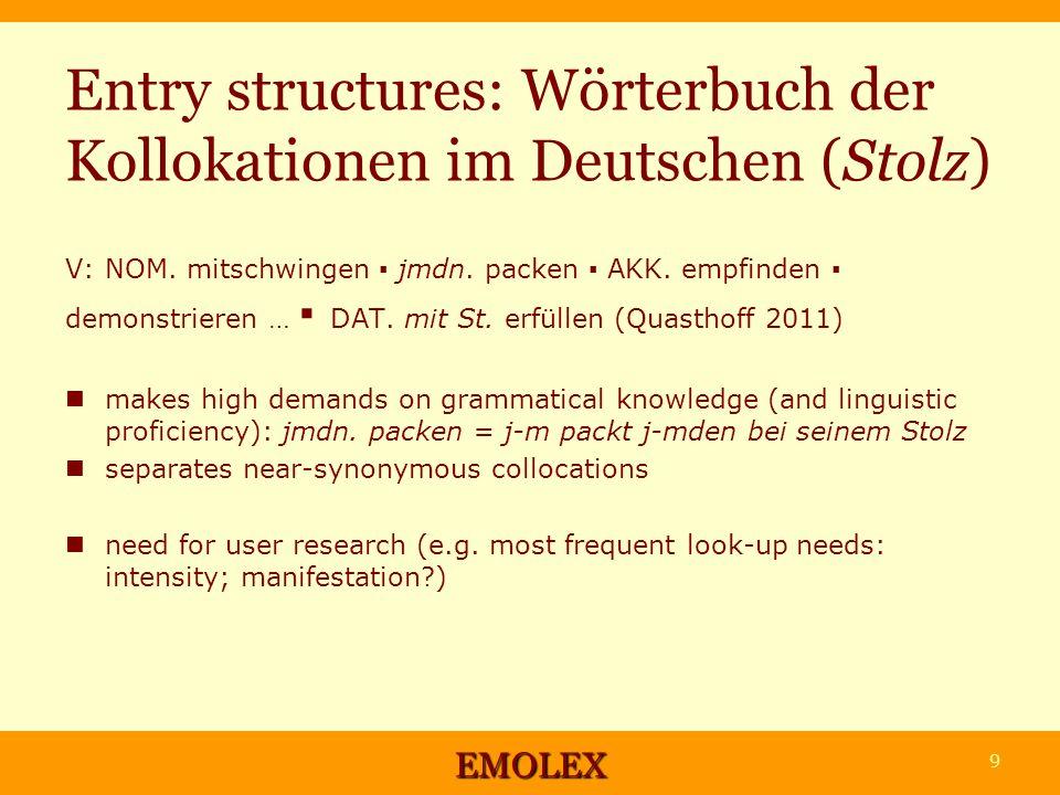 Entry structures: Wörterbuch der Kollokationen im Deutschen (Stolz) V: NOM.