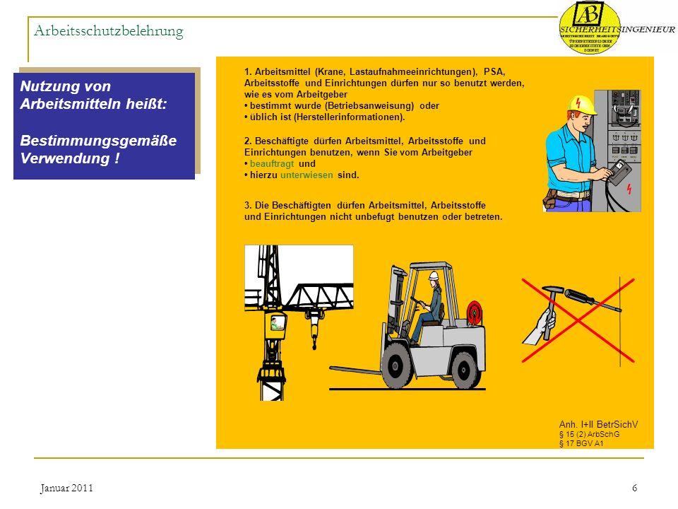 Januar 20116 Arbeitsschutzbelehrung Nutzung von Arbeitsmitteln heißt: Bestimmungsgemäße Verwendung ! Nutzung von Arbeitsmitteln heißt: Bestimmungsgemä