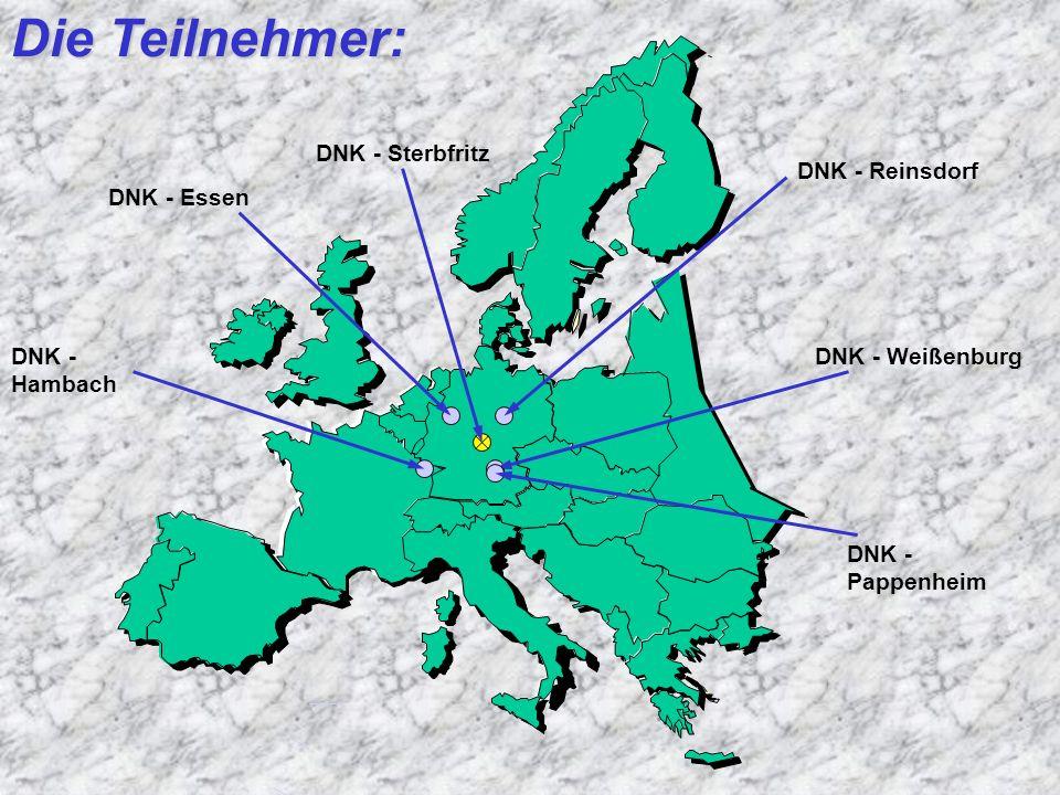 Die Teilnehmer: DNK - Essen DNK - Reinsdorf DNK - Weißenburg DNK - Pappenheim DNK - Hambach DNK - Sterbfritz
