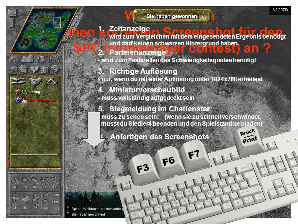 Wie fertige ich einen korrekten Screenshot für den SPC (singleplayer contest) an ? 1.Zeitanzeige -wird zum Vergleichen mit dem eingesendeten Ergebnis