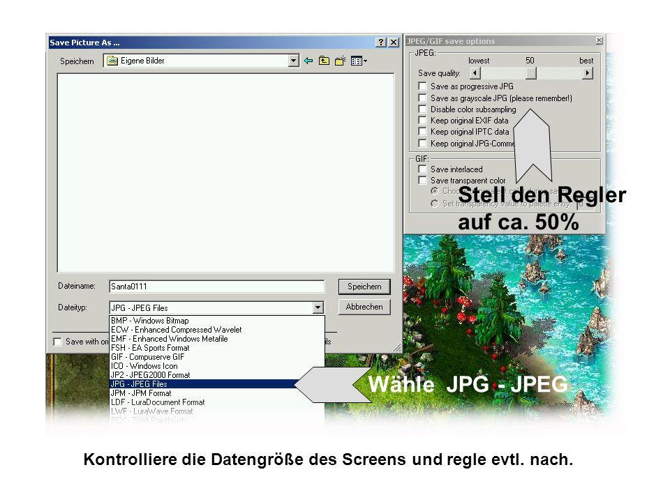 Wähle JPG - JPEG Stell den Regler auf ca. 50% Kontrolliere die Datengröße des Screens und regle evtl. nach.
