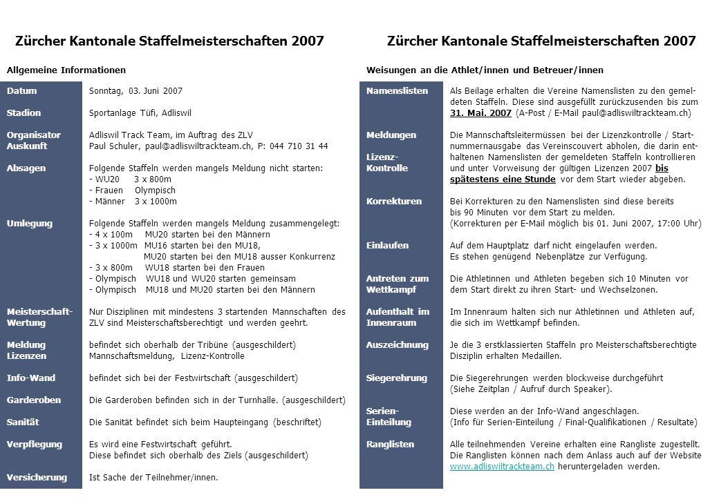 Zürcher Kantonale Staffelmeisterschaften 2007 Datum Stadion Organisator Auskunft Absagen Umlegung Meisterschaft- Wertung Meldung Lizenzen Info-Wand Ga
