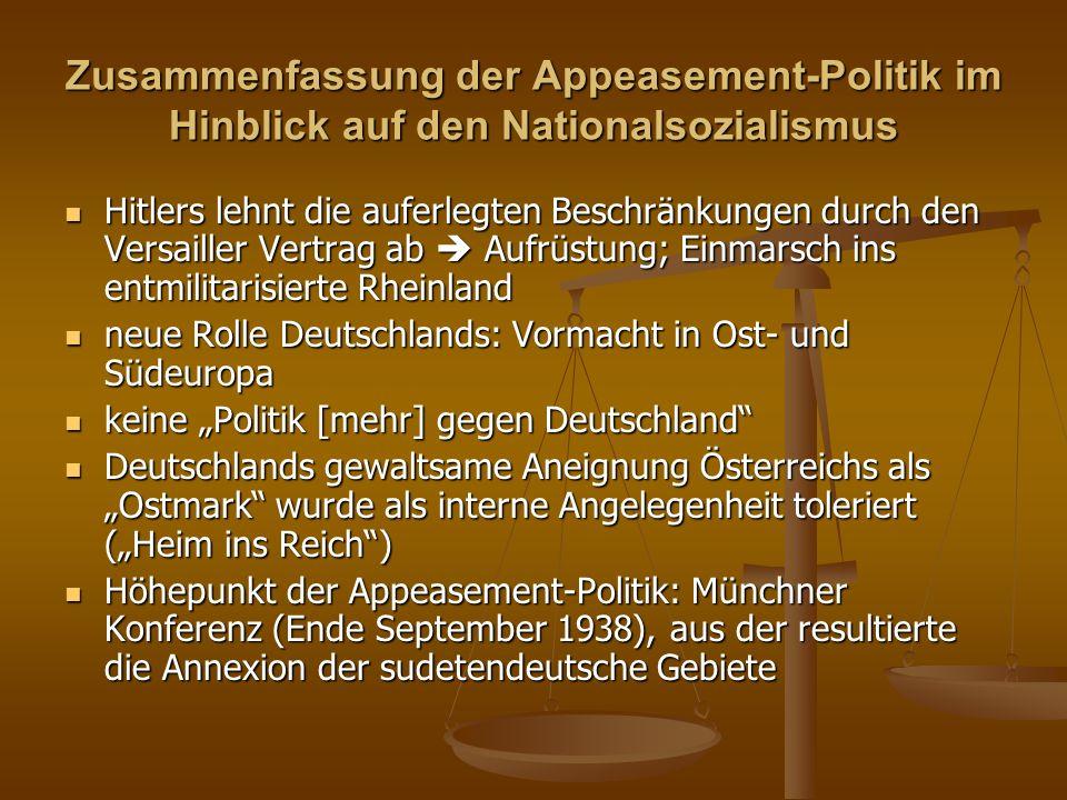 Zusammenfassung der Appeasement-Politik im Hinblick auf den Nationalsozialismus Hitlers lehnt die auferlegten Beschränkungen durch den Versailler Vert