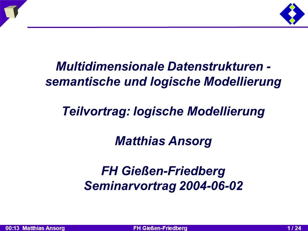 00:13 Matthias Ansorg FH Gießen-Friedberg1 / 24 Kritische Schlussbemerkung :: Inhalt Kritische Schlussbemerkung zum Einsatz der logischen Modelle Wartungsproblematik im Data Warehouse Wartungsfreiheit durch Data Marts mit Cache- Struktur?