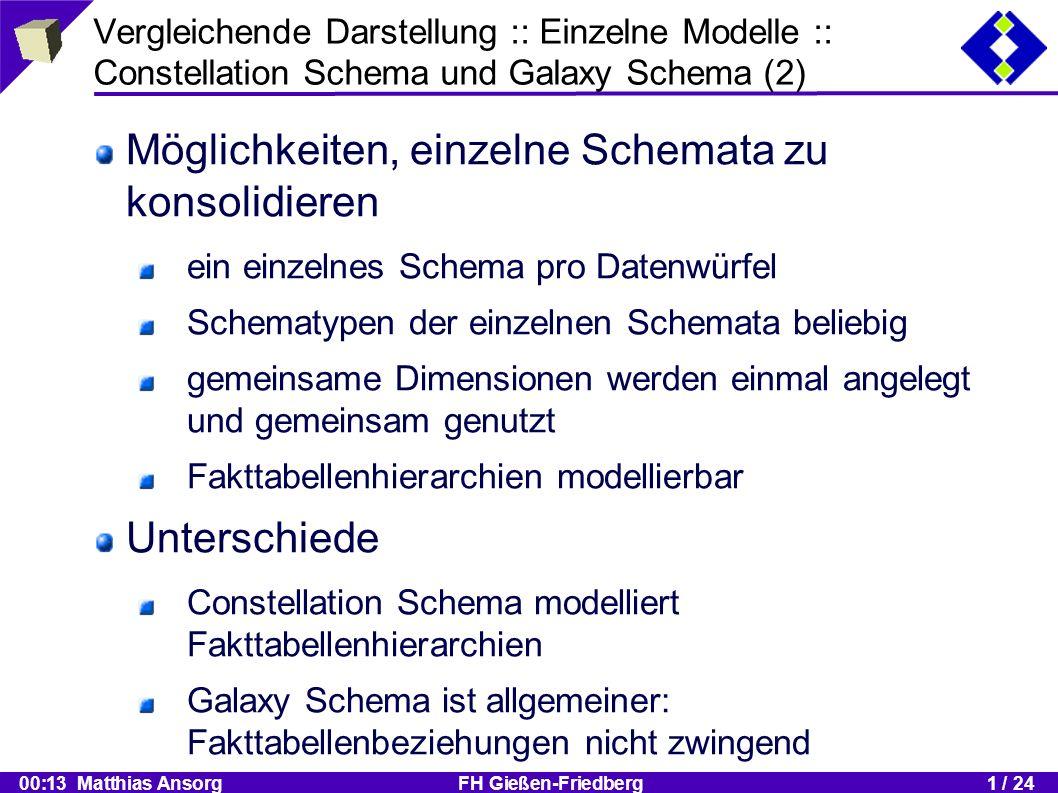 00:13 Matthias Ansorg FH Gießen-Friedberg1 / 24 Vergleichende Darstellung :: Einzelne Modelle :: Constellation Schema und Galaxy Schema (2) Möglichkeiten, einzelne Schemata zu konsolidieren ein einzelnes Schema pro Datenwürfel Schematypen der einzelnen Schemata beliebig gemeinsame Dimensionen werden einmal angelegt und gemeinsam genutzt Fakttabellenhierarchien modellierbar Unterschiede Constellation Schema modelliert Fakttabellenhierarchien Galaxy Schema ist allgemeiner: Fakttabellenbeziehungen nicht zwingend