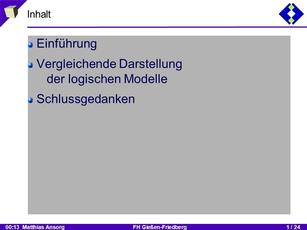 00:13 Matthias Ansorg FH Gießen-Friedberg1 / 24 Inhalt Einführung Vergleichende Darstellung der logischen Modelle Schlussgedanken