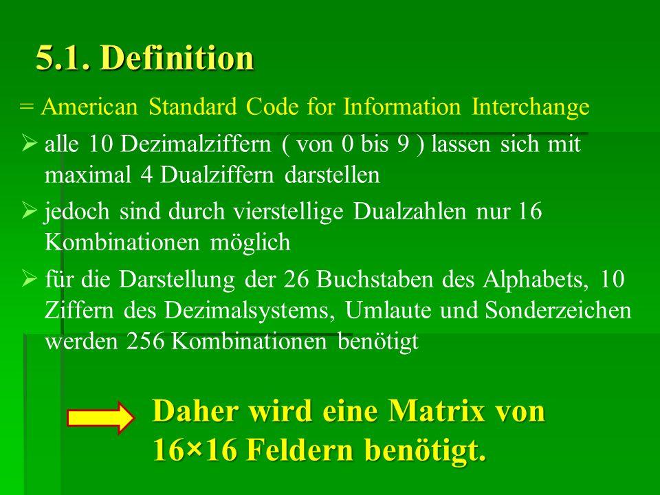 5.1. Definition = American Standard Code for Information Interchange alle 10 Dezimalziffern ( von 0 bis 9 ) lassen sich mit maximal 4 Dualziffern dars