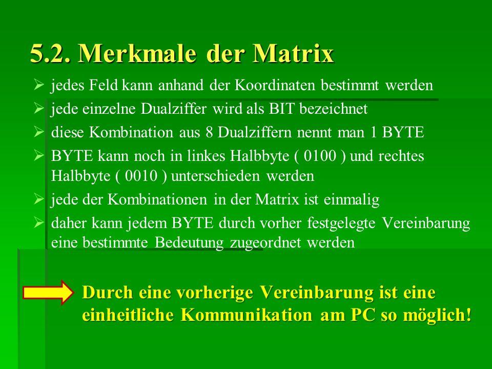 5.2. Merkmale der Matrix jedes Feld kann anhand der Koordinaten bestimmt werden jede einzelne Dualziffer wird als BIT bezeichnet diese Kombination aus