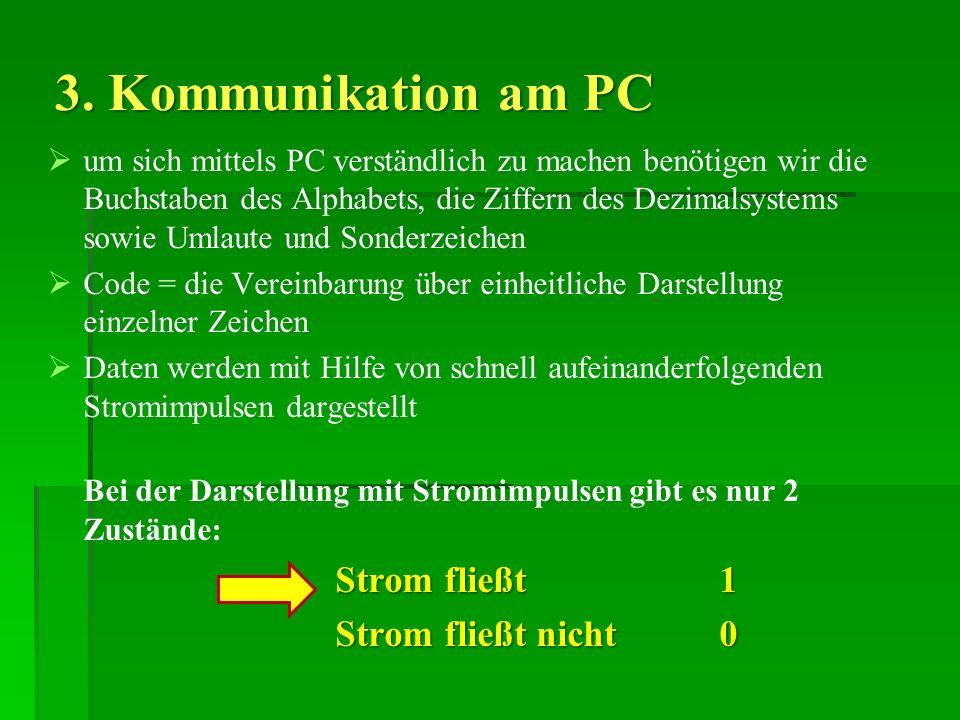 3. Kommunikation am PC um sich mittels PC verständlich zu machen benötigen wir die Buchstaben des Alphabets, die Ziffern des Dezimalsystems sowie Umla