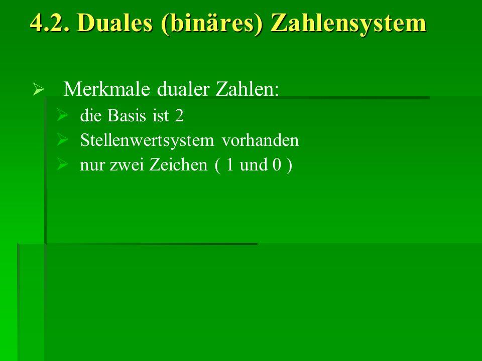 4.2. Duales (binäres) Zahlensystem Merkmale dualer Zahlen: die Basis ist 2 Stellenwertsystem vorhanden nur zwei Zeichen ( 1 und 0 )