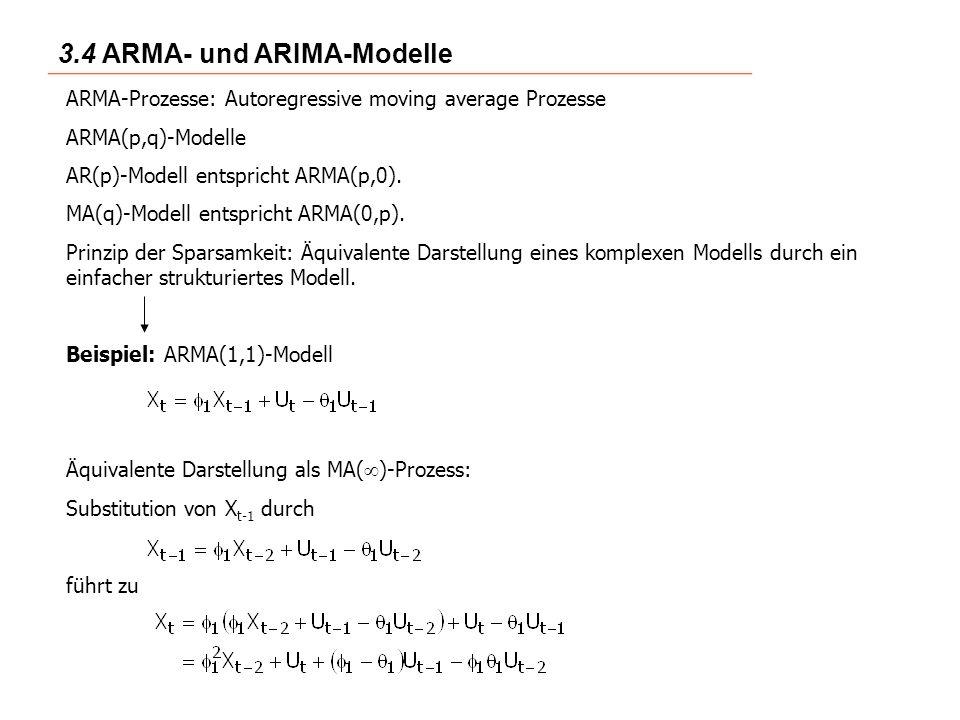 3.4 ARMA- und ARIMA-Modelle ARMA-Prozesse: Autoregressive moving average Prozesse ARMA(p,q)-Modelle AR(p)-Modell entspricht ARMA(p,0).