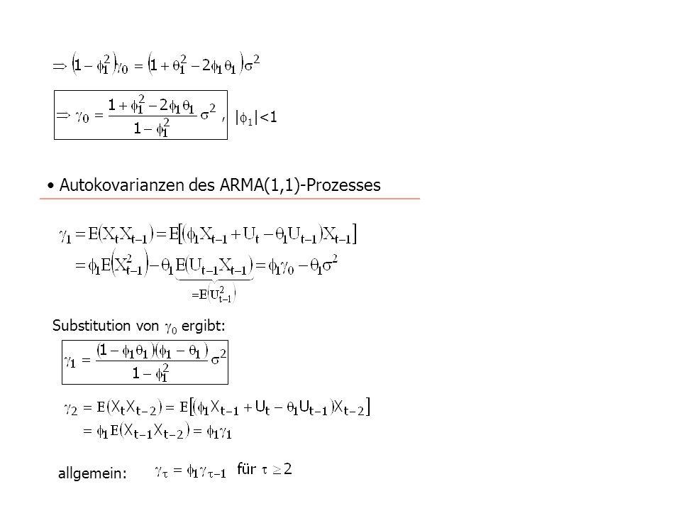 Autokorrelationsfunktion des ARMA(1,1)-Prozesses allgemein: Interpretation: Der Verlauf der Autokorrelationsfunktion eines ARMA(1,1)-Prozesses ist vergleichbar mit dem eines AR1)-Prozesses.