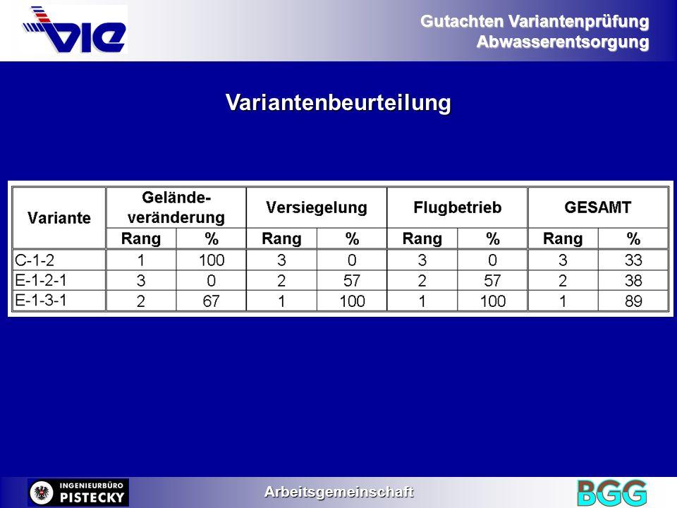 Gutachten Variantenprüfung AbwasserentsorgungArbeitsgemeinschaft Variantenbeurteilung