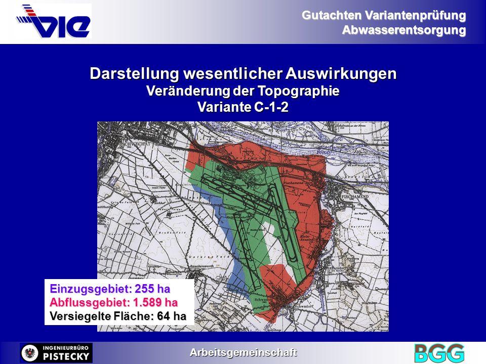 Gutachten Variantenprüfung AbwasserentsorgungArbeitsgemeinschaft Darstellung wesentlicher Auswirkungen Veränderung der Topographie Variante E-1-2-1 Einzugsgebiet: 134 ha Abflussgebiet: 2.031 ha Versiegelte Fläche: 57 ha