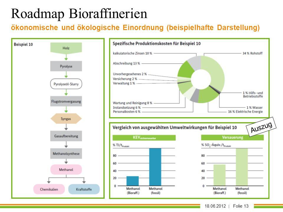 18.06.2012 | Folie 13 Auszug Roadmap Bioraffinerien ökonomische und ökologische Einordnung (beispielhafte Darstellung)