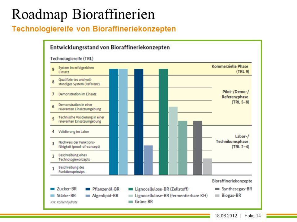 18.06.2012 | Folie 14 Technologiereife von Bioraffineriekonzepten Roadmap Bioraffinerien