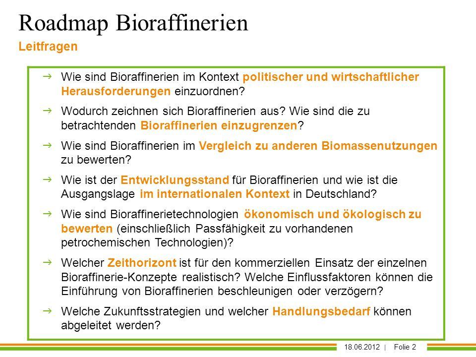 18.06.2012 | Folie 2 Leitfragen Wie sind Bioraffinerien im Kontext politischer und wirtschaftlicher Herausforderungen einzuordnen? Wodurch zeichnen si