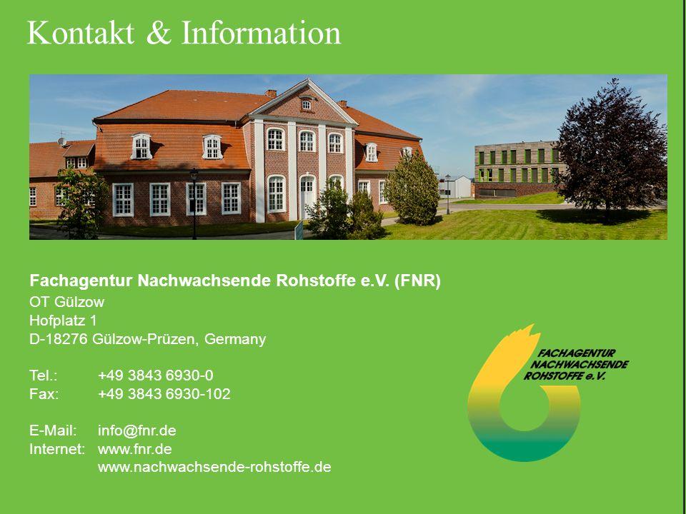 18.06.2012 | Folie 24 Fachagentur Nachwachsende Rohstoffe e.V. (FNR) OT Gülzow Hofplatz 1 D-18276 Gülzow-Prüzen, Germany Tel.: +49 3843 6930-0 Fax: +4