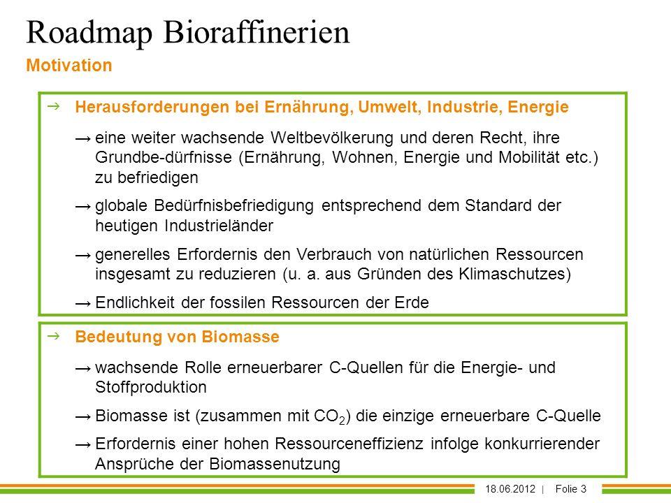 18.06.2012 | Folie 3 Roadmap Bioraffinerien Motivation Herausforderungen bei Ernährung, Umwelt, Industrie, Energie eine weiter wachsende Weltbevölkeru