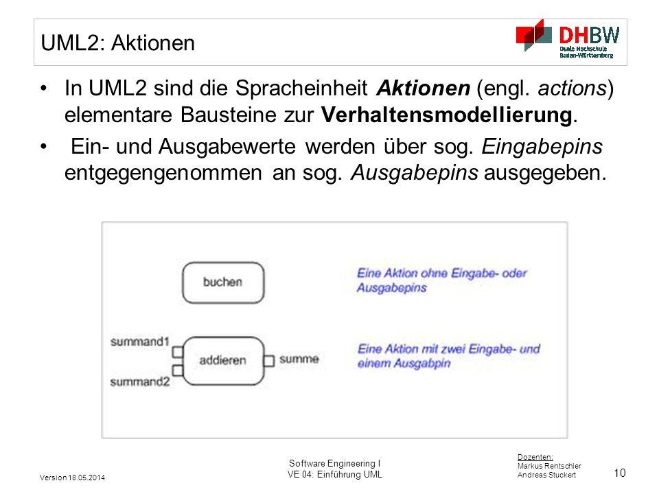 10 Dozenten: Markus Rentschler Andreas Stuckert Version 18.05.2014 Software Engineering I VE 04: Einführung UML UML2: Aktionen In UML2 sind die Spracheinheit Aktionen (engl.