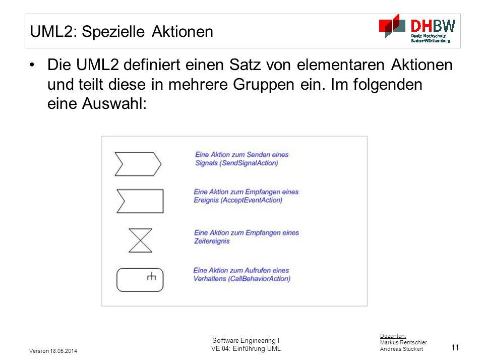 11 Dozenten: Markus Rentschler Andreas Stuckert Version 18.05.2014 Software Engineering I VE 04: Einführung UML UML2: Spezielle Aktionen Die UML2 definiert einen Satz von elementaren Aktionen und teilt diese in mehrere Gruppen ein.