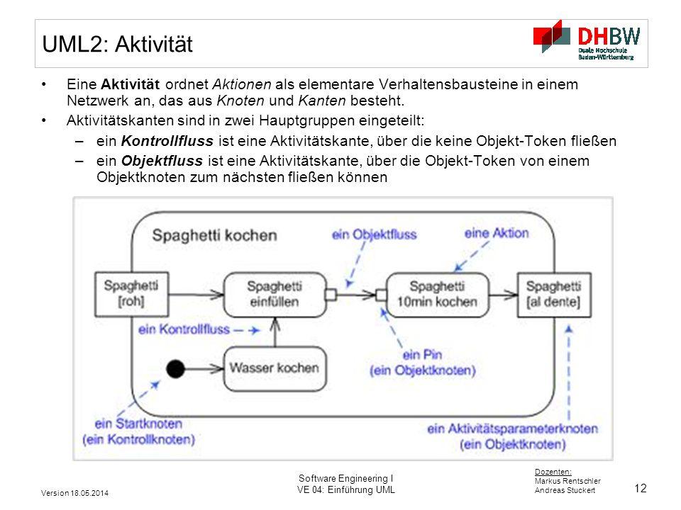12 Dozenten: Markus Rentschler Andreas Stuckert Version 18.05.2014 Software Engineering I VE 04: Einführung UML UML2: Aktivität Eine Aktivität ordnet Aktionen als elementare Verhaltensbausteine in einem Netzwerk an, das aus Knoten und Kanten besteht.
