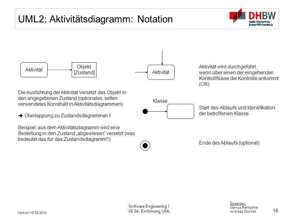 16 Dozenten: Markus Rentschler Andreas Stuckert Version 18.05.2014 Software Engineering I VE 04: Einführung UML UML2: Aktivitätsdiagramm: Notation Akt