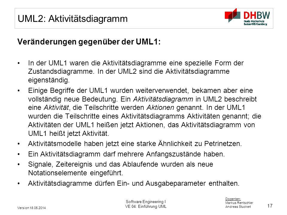 17 Dozenten: Markus Rentschler Andreas Stuckert Version 18.05.2014 Software Engineering I VE 04: Einführung UML UML2: Aktivitätsdiagramm Veränderungen gegenüber der UML1: In der UML1 waren die Aktivitätsdiagramme eine spezielle Form der Zustandsdiagramme.