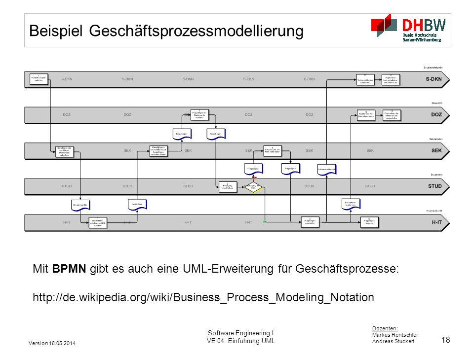 18 Dozenten: Markus Rentschler Andreas Stuckert Version 18.05.2014 Software Engineering I VE 04: Einführung UML Beispiel Geschäftsprozessmodellierung Mit BPMN gibt es auch eine UML-Erweiterung für Geschäftsprozesse: http://de.wikipedia.org/wiki/Business_Process_Modeling_Notation