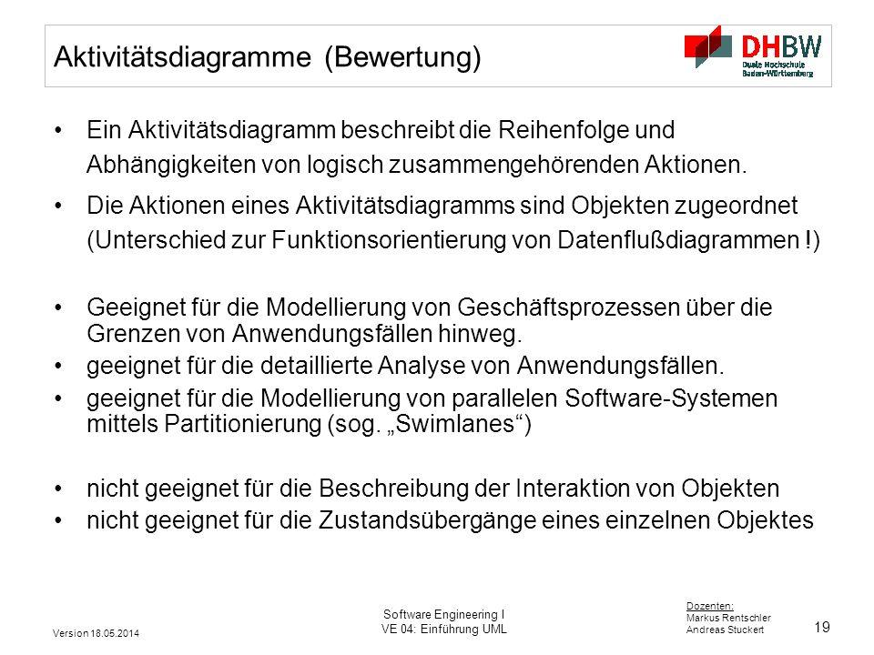 19 Dozenten: Markus Rentschler Andreas Stuckert Version 18.05.2014 Software Engineering I VE 04: Einführung UML Aktivitätsdiagramme (Bewertung) Ein Aktivitätsdiagramm beschreibt die Reihenfolge und Abhängigkeiten von logisch zusammengehörenden Aktionen.