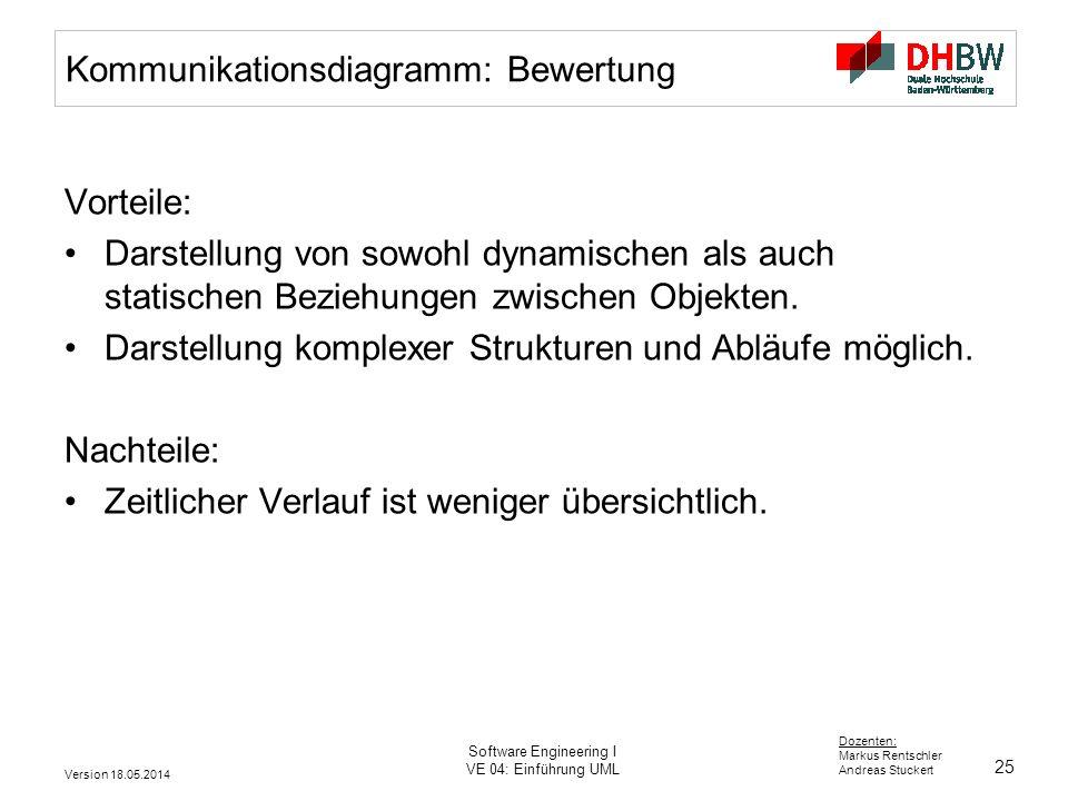 25 Dozenten: Markus Rentschler Andreas Stuckert Version 18.05.2014 Software Engineering I VE 04: Einführung UML Kommunikationsdiagramm: Bewertung Vorteile: Darstellung von sowohl dynamischen als auch statischen Beziehungen zwischen Objekten.
