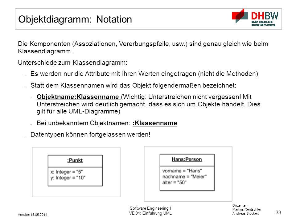 33 Dozenten: Markus Rentschler Andreas Stuckert Version 18.05.2014 Software Engineering I VE 04: Einführung UML Die Komponenten (Assoziationen, Vererbungspfeile, usw.) sind genau gleich wie beim Klassendiagramm.