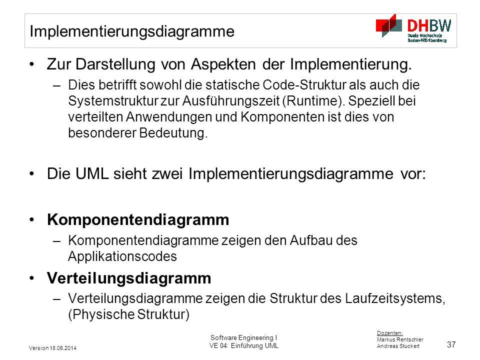 37 Dozenten: Markus Rentschler Andreas Stuckert Version 18.05.2014 Software Engineering I VE 04: Einführung UML Implementierungsdiagramme Zur Darstellung von Aspekten der Implementierung.