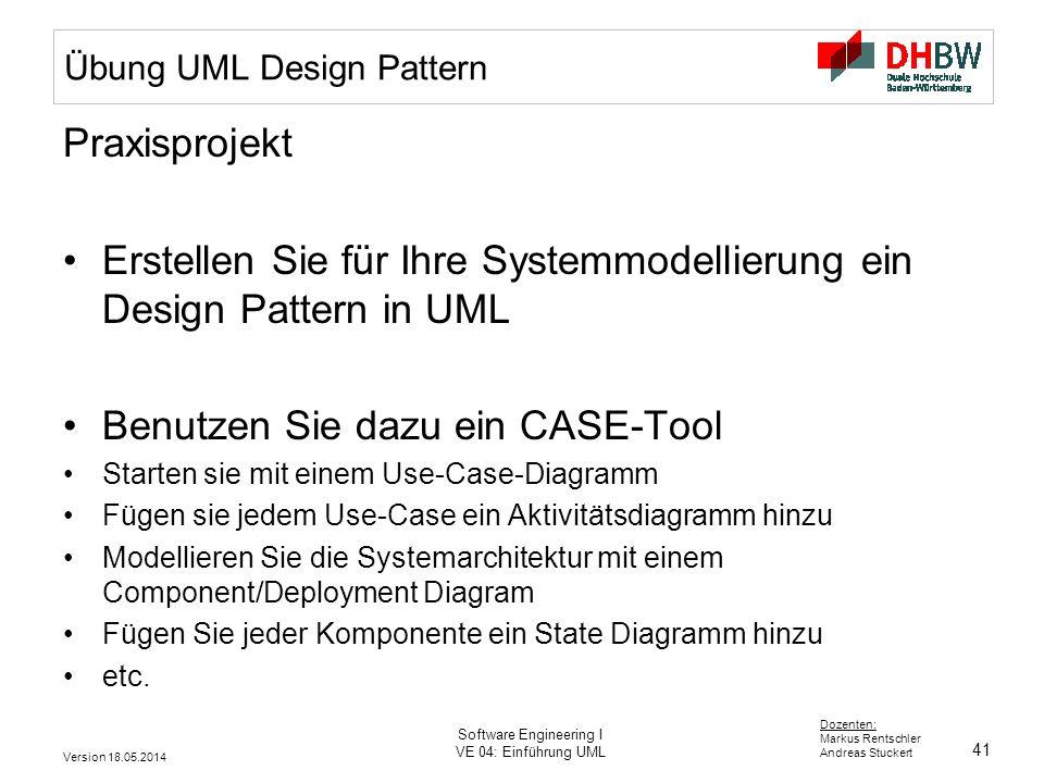 41 Dozenten: Markus Rentschler Andreas Stuckert Version 18.05.2014 Software Engineering I VE 04: Einführung UML Übung UML Design Pattern Praxisprojekt Erstellen Sie für Ihre Systemmodellierung ein Design Pattern in UML Benutzen Sie dazu ein CASE-Tool Starten sie mit einem Use-Case-Diagramm Fügen sie jedem Use-Case ein Aktivitätsdiagramm hinzu Modellieren Sie die Systemarchitektur mit einem Component/Deployment Diagram Fügen Sie jeder Komponente ein State Diagramm hinzu etc.