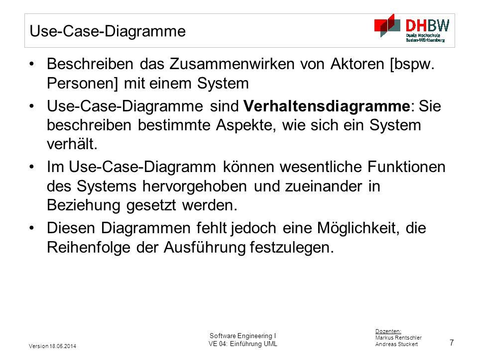 7 Dozenten: Markus Rentschler Andreas Stuckert Version 18.05.2014 Software Engineering I VE 04: Einführung UML Use-Case-Diagramme Beschreiben das Zusammenwirken von Aktoren [bspw.