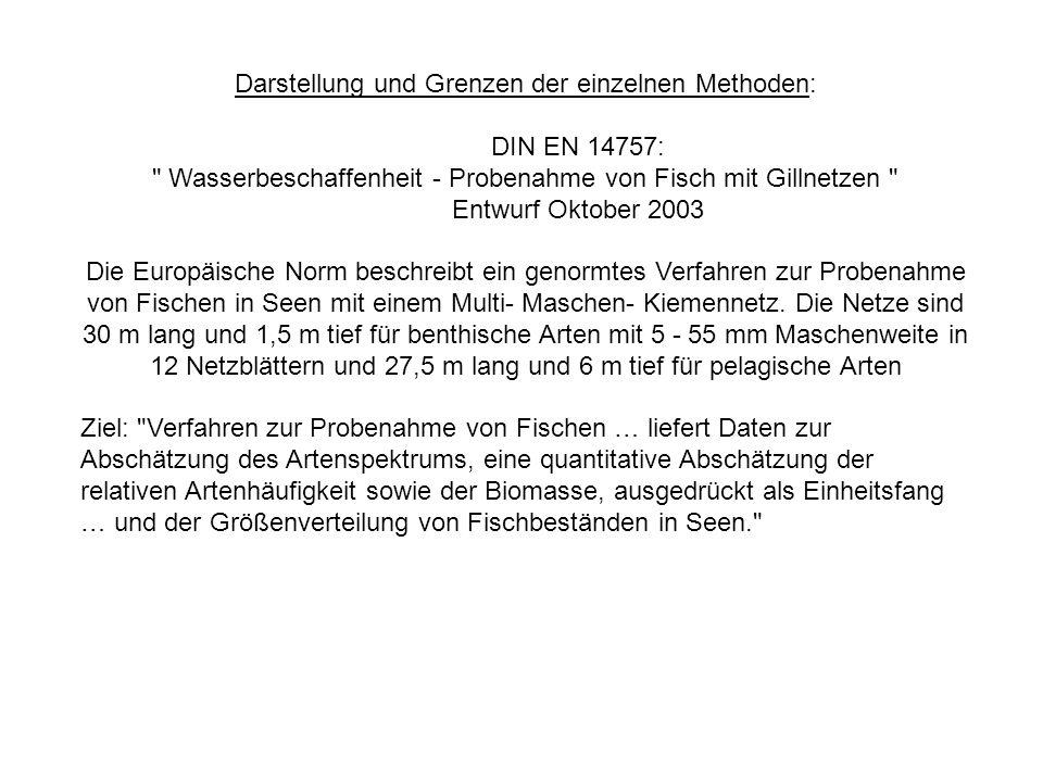 Darstellung und Grenzen der einzelnen Methoden: DIN EN 14757: