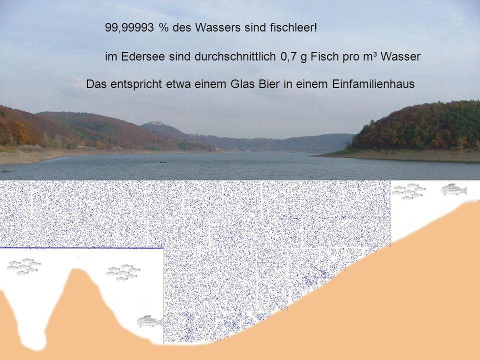 99,99993 % des Wassers sind fischleer! im Edersee sind durchschnittlich 0,7 g Fisch pro m³ Wasser Das entspricht etwa einem Glas Bier in einem Einfami