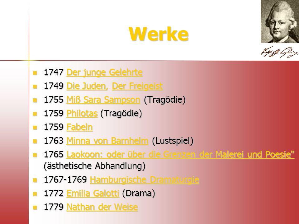 Werke 1747 Der junge Gelehrte 1747 Der junge Gelehrte 1749 Die Juden, Der Freigeist 1749 Die Juden, Der Freigeist 1755 Miß Sara Sampson (Tragödie) 175