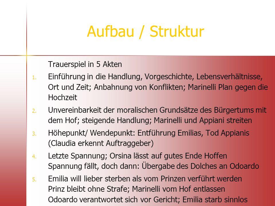 Aufbau / Struktur Trauerspiel in 5 Akten 1. 1. Einführung in die Handlung, Vorgeschichte, Lebensverhältnisse, Ort und Zeit; Anbahnung von Konflikten;