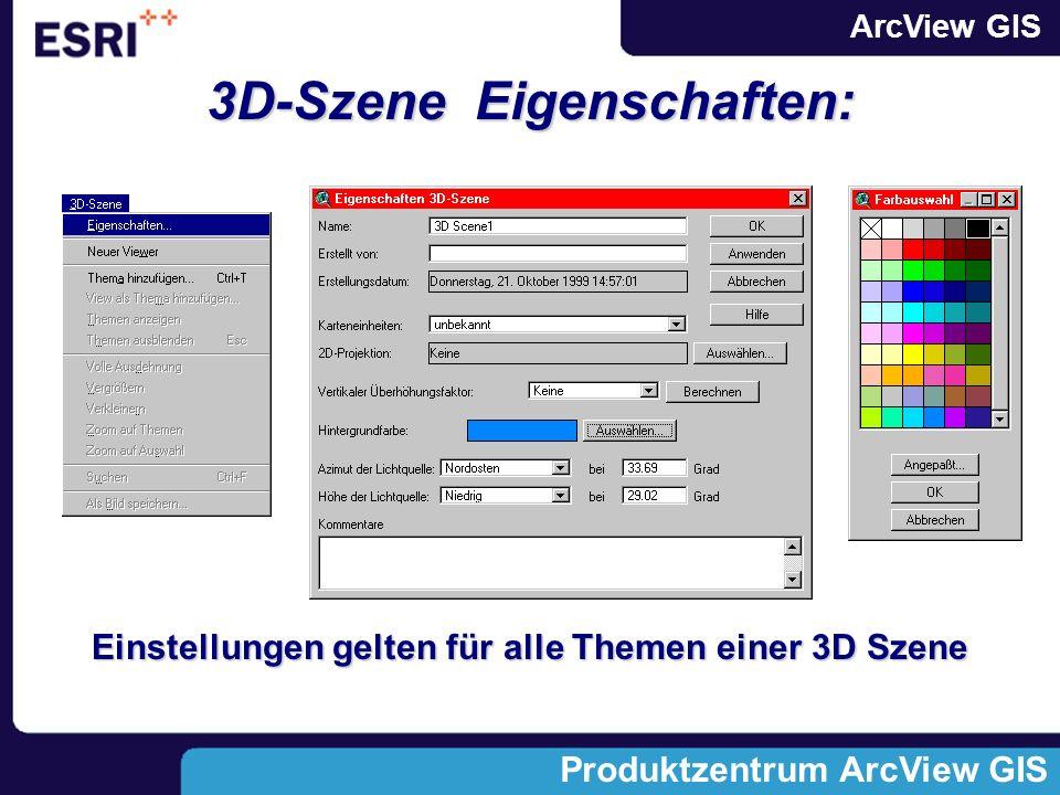 ArcView GIS Produktzentrum ArcView GIS 3D-Szene Eigenschaften: Einstellungen gelten für alle Themen einer 3D Szene