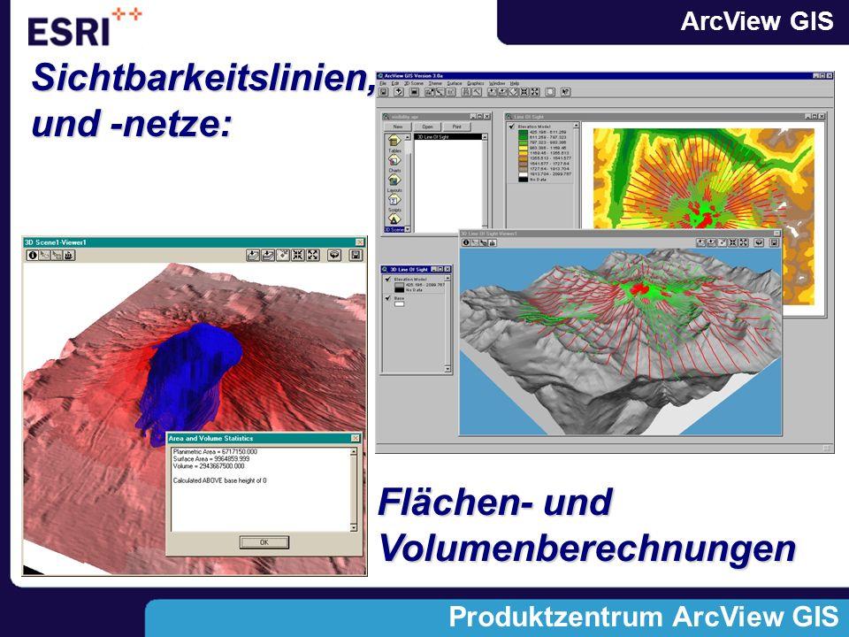 ArcView GIS Produktzentrum ArcView GIS Sichtbarkeitslinien, und -netze: Flächen- und Volumenberechnungen